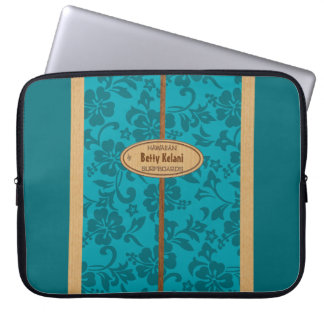 Mokuleia Hawaiian Faux Wood Monogram Surfboard Laptop Sleeves