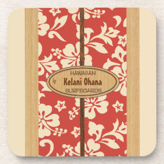 Mokuleia Surfboard Customizable Tiki Bar Coasters