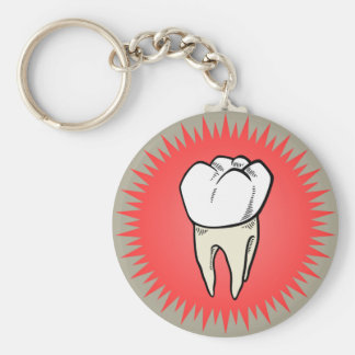 Molar freshly extracted basic round button key ring