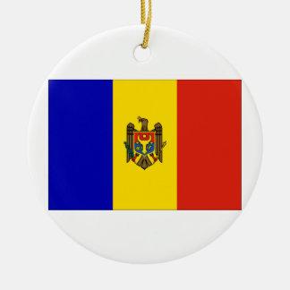 Moldova Flag Round Ceramic Decoration