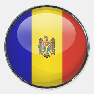 Moldova Flag Glass Ball Classic Round Sticker