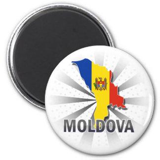 Moldova Flag Map 2.0 6 Cm Round Magnet