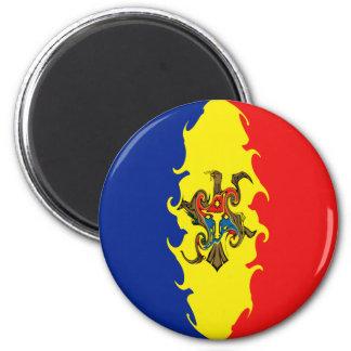 Moldova Gnarly Flag 6 Cm Round Magnet