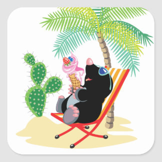 mole on the beach square sticker