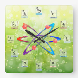 Molecules Atom Periodic Table on Green Background Square Wall Clock