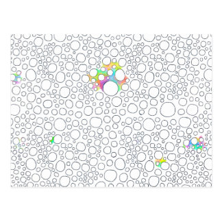 Molecules cells circles fun patterned painting postcard