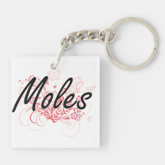 Moles with flowers background Double-Sided square acrylic key ring