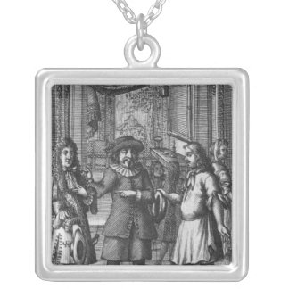 Moliere as Harpagon, frontispiece illustration Silver Plated Necklace