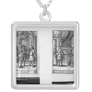Moliere, frontispiece for 'The Miser' Silver Plated Necklace