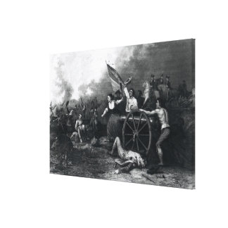 Moll Pitcher at the Battle of Monmouth Stretched Canvas Print