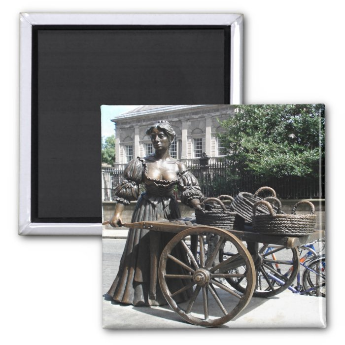 Molly Malone and Wheelbarrow Ireland Square Magnet
