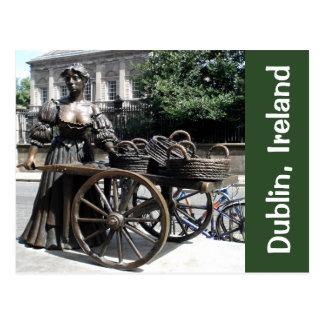Molly Malone and Wheelbarrow Statue Ireland Card Postcard