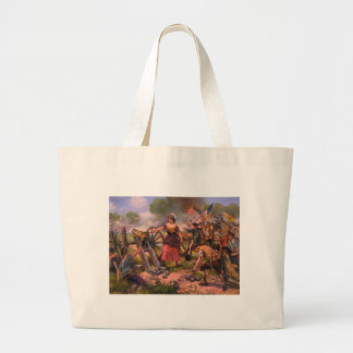 Molly Pitcher Firing Cannon at Battle of Monmouth Large Tote Bag