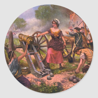 Molly Pitcher Firing Cannon at Battle of Monmouth Round Sticker