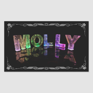 Molly  - The Name Molly in 3D Lights (Photograph) Rectangular Sticker