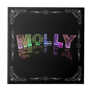 Molly - The Name Molly in 3D Lights (Photograph) Tiles