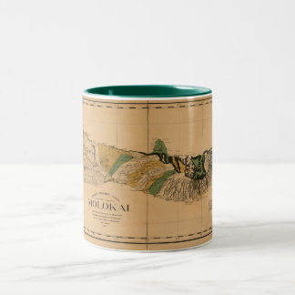 Molokai, 1897, Vintage Hawaii Map Two-Tone Coffee Mug
