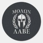 Molon Labe Chrome Like Spartan Helmet on Grille Round Sticker
