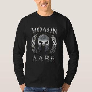 Molon Labe Chrome Spartan Helmet Grunge Steel Tee Shirt