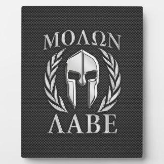 Molon Labe Chrome Spartan Helmet on Carbon Fiber Display Plaques