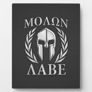 Molon Labe Chrome Spartan Helmet on Carbon Fiber Plaque