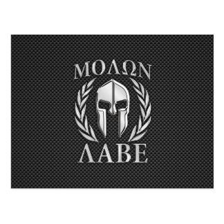 Molon Labe Chrome Spartan Helmet on Carbon Fiber Postcard