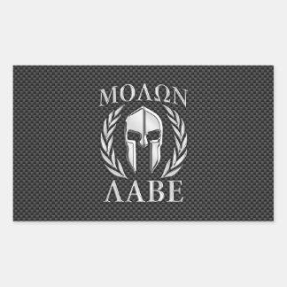 Molon Labe Chrome Spartan Helmet on Carbon Fiber Rectangular Sticker