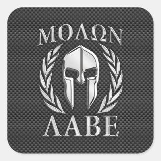Molon Labe Chrome Spartan Helmet on Carbon Fiber Square Sticker