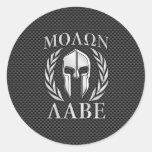 Molon Labe Chrome Spartan Helmet on Carbon Fibre Round Sticker