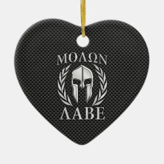 Molon Labe Chrome Style Spartan Armor Carbon Fiber Christmas Ornament