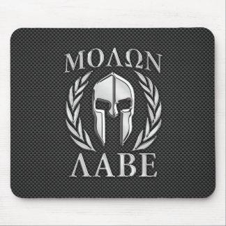 Molon Labe Chrome Style Spartan Armor Carbon Fiber Mouse Mat