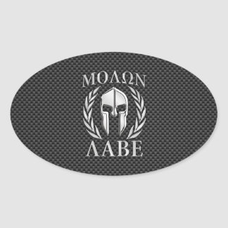 Molon Labe Chrome Style Spartan Armor Carbon Fiber Oval Sticker