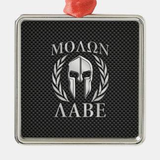 Molon Labe Chrome Style Spartan Armor Carbon Fiber Silver-Colored Square Decoration