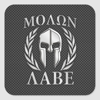 Molon Labe Chrome Style Spartan Armor Carbon Fiber Square Sticker