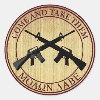 Molon Labe Come and Take Them Round Sticker