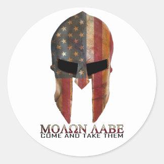 Molon Labe - Come and Take Them USA Spartan Round Sticker