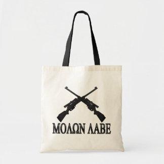 Molon Labe Crossed Rifles 2nd Amendment Tote Bags