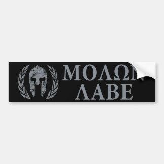 Molon Labe Grunge Spartan Helmet Bumper Sticker