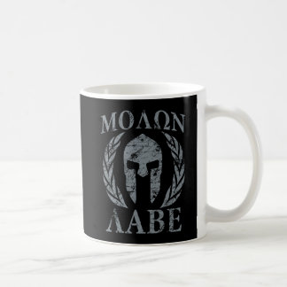 Molon Labe Grunge Spartan Helmet Basic White Mug