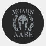 Molon Labe Grunge Spartan Helmet Round Stickers