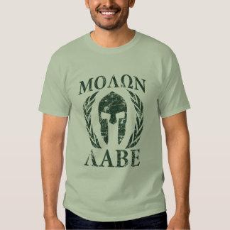 Molon Labe Grunge Spartan Helmet Shirts