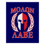 Molon Labe Spartan Armour Laurels Navy Blue Poster