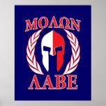 Molon Labe Spartan Armour Laurels Navy Blue Poster
