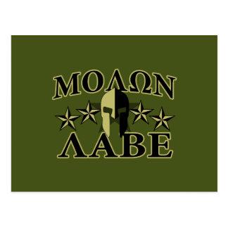 Molon Labe Spartan Helmet 5 stars Postcard