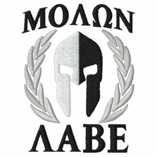 Molon Labe Spartan Helmet Laurels Black White Polos