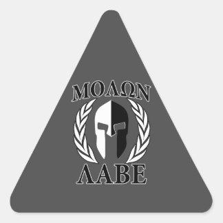 Molon Labe Spartan Helmet Laurels Charcoal Triangle Sticker