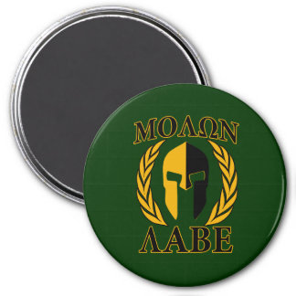 Molon Labe Spartan Helmet Laurels Gold 7.5 Cm Round Magnet