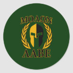 Molon Labe Spartan Helmet Laurels Gold Round Stickers