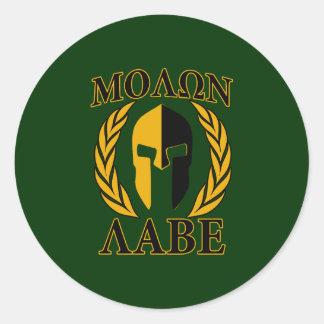 Molon Labe Spartan Helmet Laurels Gold Sticker