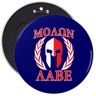 Molon Labe Spartan Helmet Laurels Tri-Color 6 Cm Round Badge